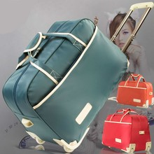 901b0cc3444a 2018 New Women Luggage Metal Trolley Travel Bags Hand Trolley Unisex duffle  Bag Large Capacity Travel