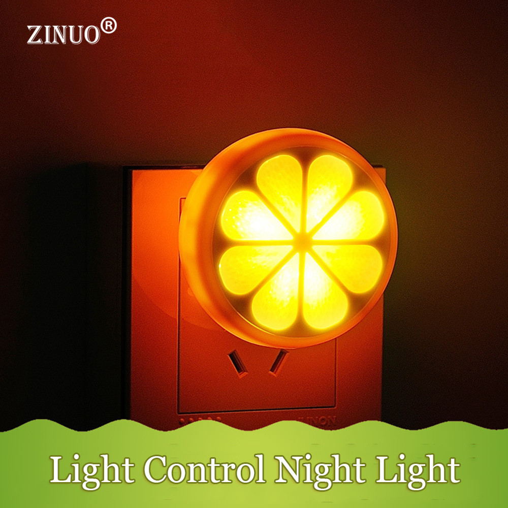 ZINUO Orange Shape LED Light Sensor Night Light AC90~240V Bedside Lamp Smart LED Light Sensor Night Light For Kids Baby Children