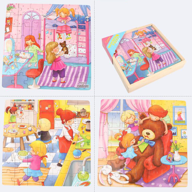 Creative Early Learning Toys Three-in-One Puzzle Dinosaur Puzzle Games Cute Cartoon Wooden Puzzle Popular Toy