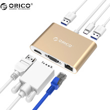 ORICO алюминиевый концентратор с Type-C VGA/HDMI/RJ45/Type-C/типа конвертер USB3.1 Gen1 с 2 USB3.0 порты для Mac (rcnb)