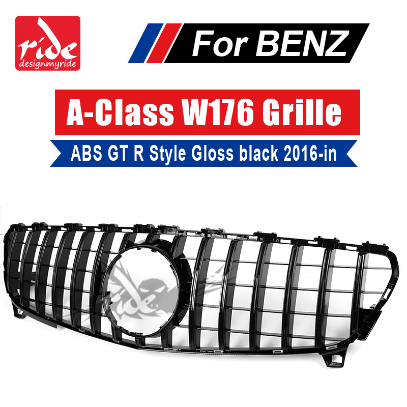W176 GT R Style Black Front Bumper Grille For MercedesMB A Class A180 A200 W250 A45 ABS Without sign Sports Front Grills 2016 in-in Racing Grills from Automobiles & Motorcycles    1