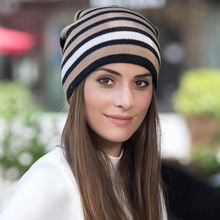 цена на warm Winter hat Knitted Cap Casual Solid Color Skullies beanie Cap 5 Colours striped Wool Blends Thick knit women beanie Hat
