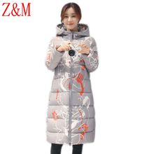 Winter printing Parka long Korean women's self-cultivation down jacket thicker Hooded coat