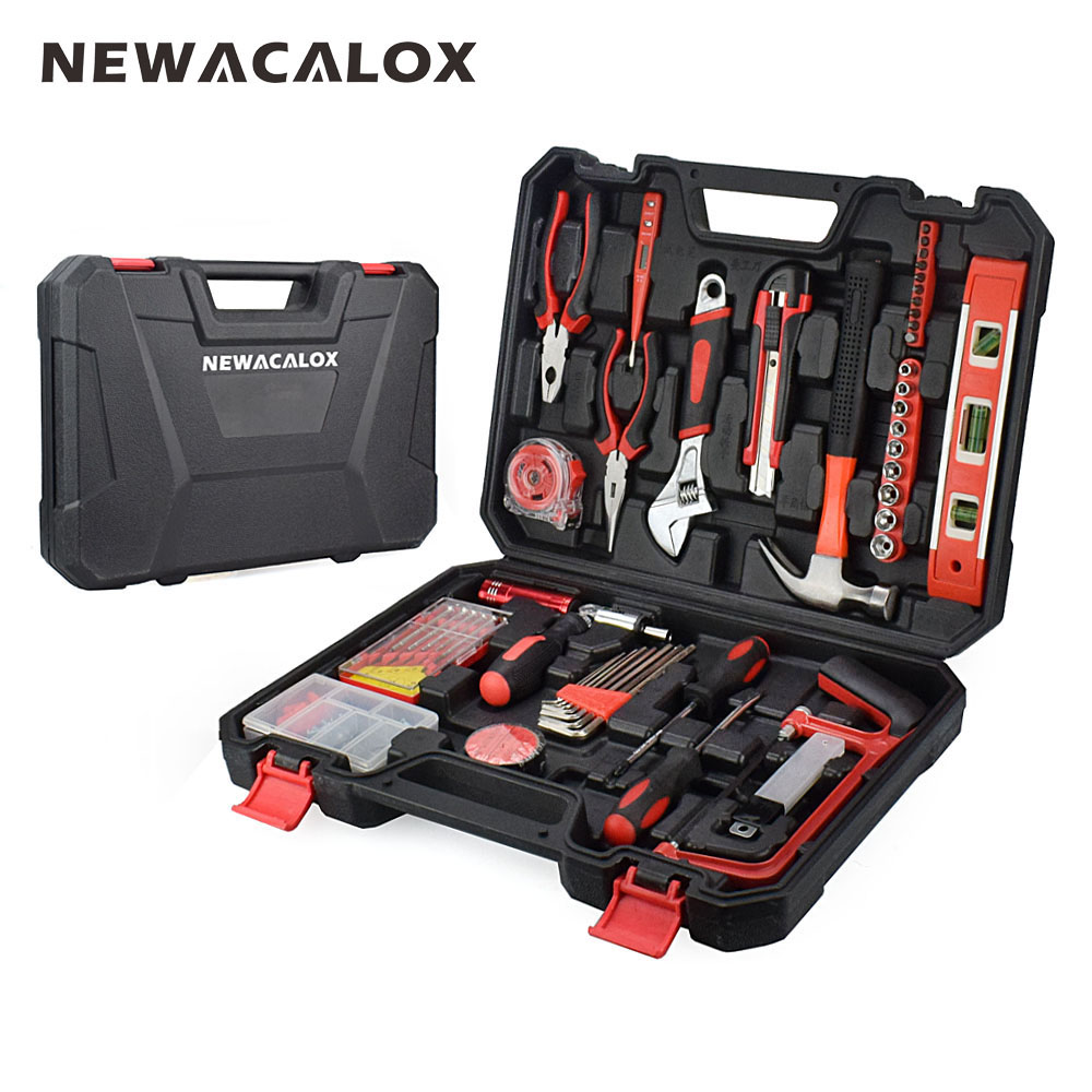NEWACALOX 110PC Hand Tool Set Socket Wrench Digital Test Pencil with Plastic Toolbox Storage Case Household