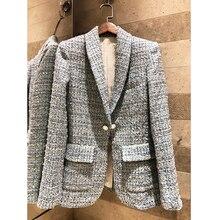 High-end для женщин 2019 Весна твид синий плед тонкий пошив Professional женщина тонкий пальто шелковая подкладка
