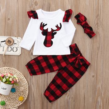 2018 Fashion Christmas 3pcs Tops + Plaid Pants + headband Newborn Baby Boy Girl O neck Bear Deer Outfits Set Patchwork Cute plaid