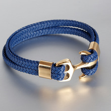 MINCN anchor bracelet men rope Titanium steel gold stainless leather jewelry