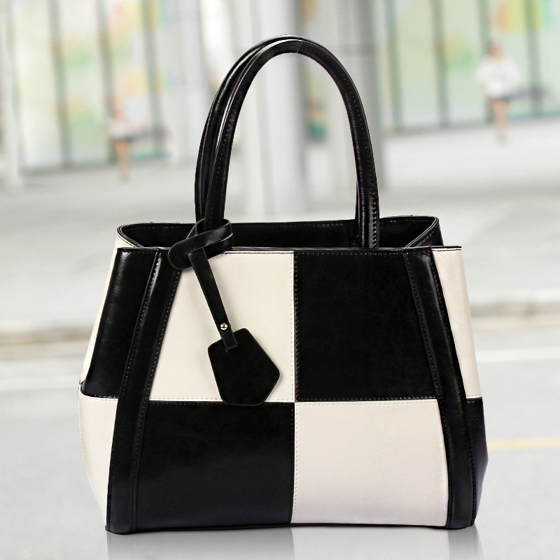 ФОТО Ellacey Fashion Hit Color Handbag Shoulder Bag Black And White Tote Bags Genuine Leather Designer Handbags For Women Casual Tote