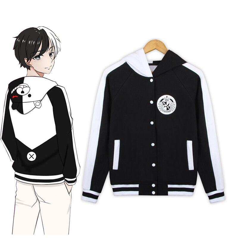 Anime Danganronpa Monokuma Baseball Uniform Cosplay Costume Dangan Ronpa Cute Hoodie Casual Sweatshirt Hooded Jacket hoodie