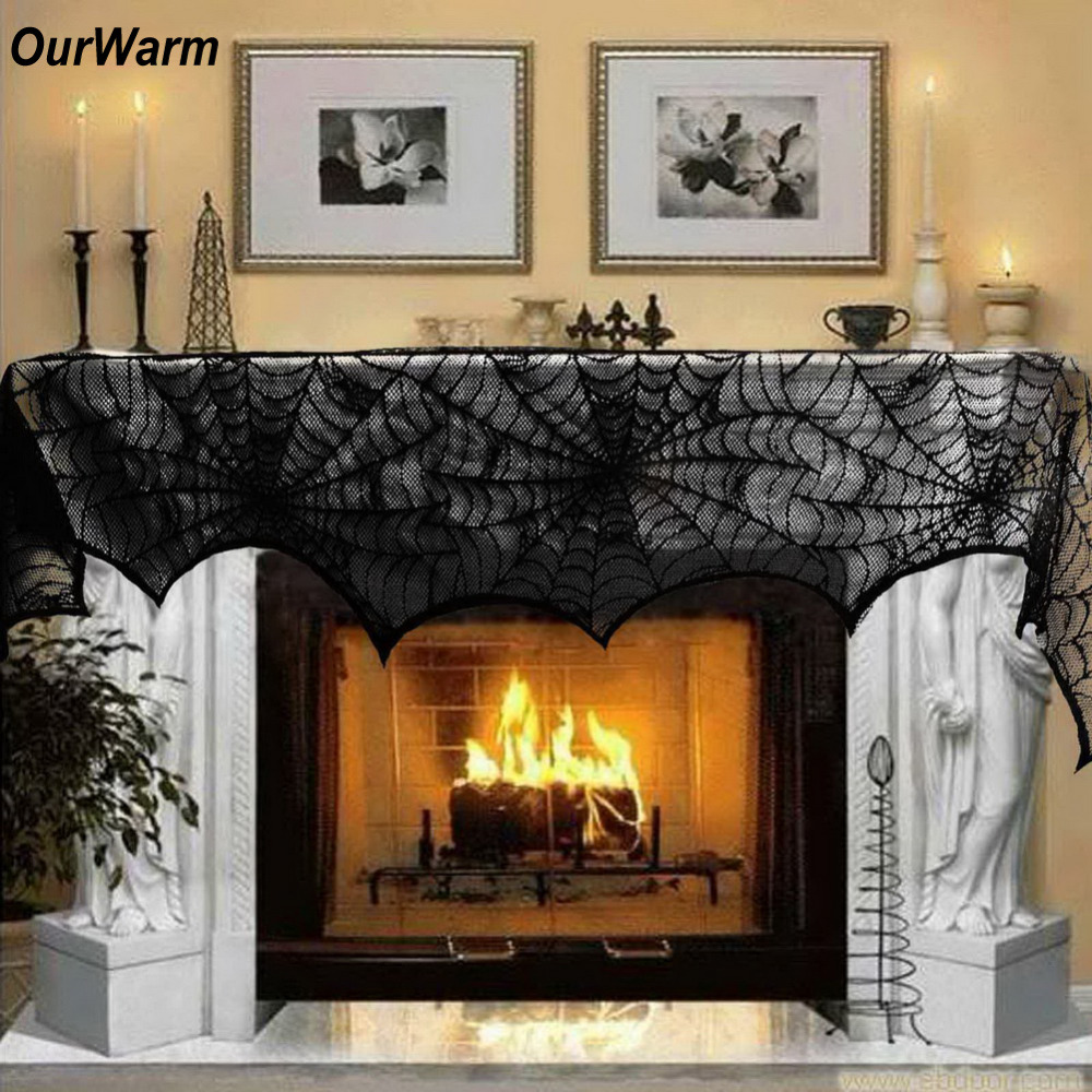 Ourwarm Halloween Black Lace Spindelvävspartietillbehör Öppen spis Mantle Scarf Cover 243cm Bordduk för Halloween Decoration