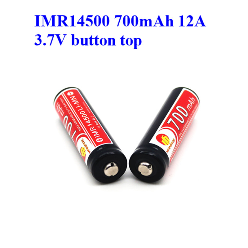 wholesale price Mainifire 3 7V 14500 700mah Imr14500 rechargeable battery  button top for ecigs(1pc)