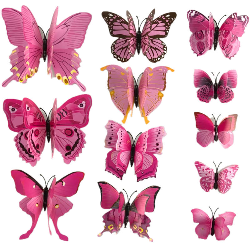 product 12 Pcs/Lot PVC 3D DIY Butterfly Wall Stickers Home Decor Poster for Kitchen Bathroom Fridge Adhesive to Wall Decals Decoration