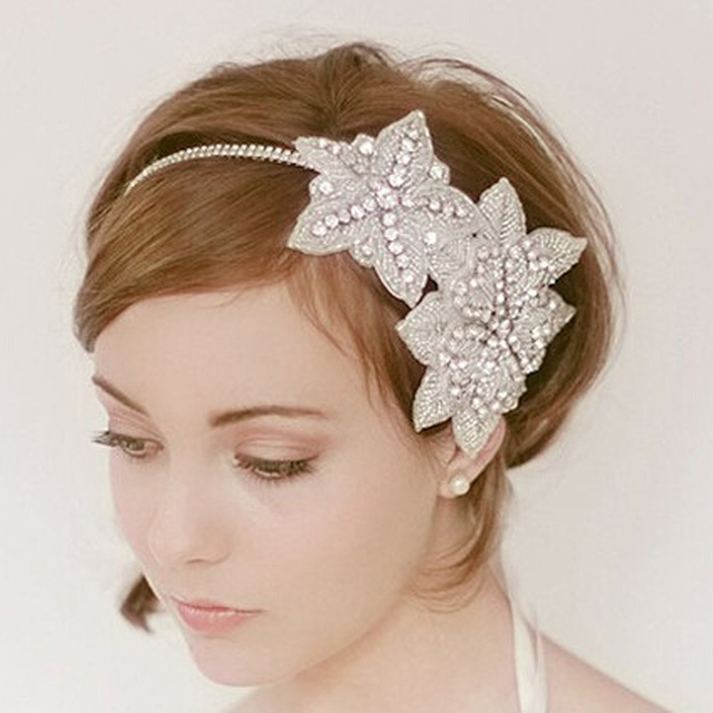 Handmade Rhinestone Fler Gatsby Hair Accessories Wedding Bridal Headpiece Crystal Headband 1920s