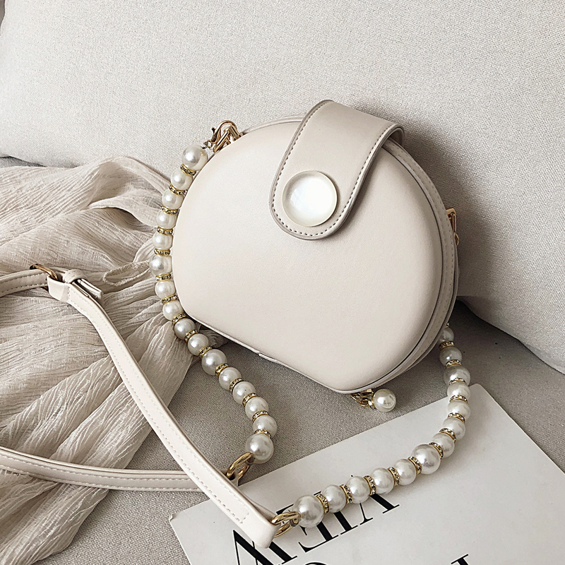 Elegant Female Round Bag 2020 Summer New Quality PU Leather Women's Designer Handbag Pearl Chain Shoulder Messenger Bag Purses