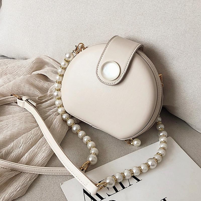 Elegant Female Round Bag 2020 Summer New Quality PU Leather Women's Designer Handbag Pearl Chain Shoulder Messenger Bag Purses
