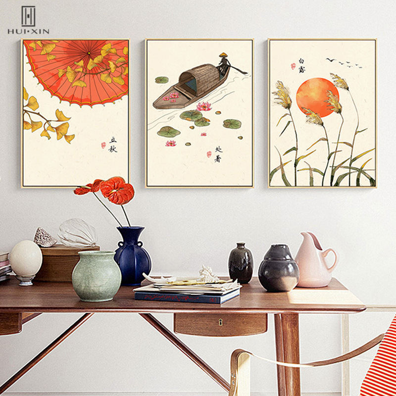 Traditional Chinese Peaceful Paper Umbrella Boat Landscape Autumn Season Canvas Painting Unframed Poster Wall Art For Home Decor