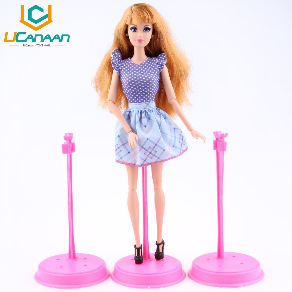 UCanaan Wholesale Free delivery A Lot = 10 pcs Stand Black Pink Show Holder For Barbie Dolls DIY Scorching Sale Doll equipment