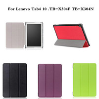 Business Case For Lenovo Tab4 10 TB X304F Coque Solid Color PU Leather Flip Stand Cover