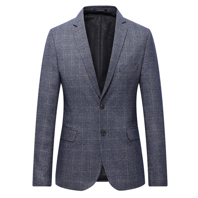 L-7XL hommes Plaid Blazer blazers occasionnels hommes Slim Fit simple boutonnage formel costume d'affaires veste gris manteau
