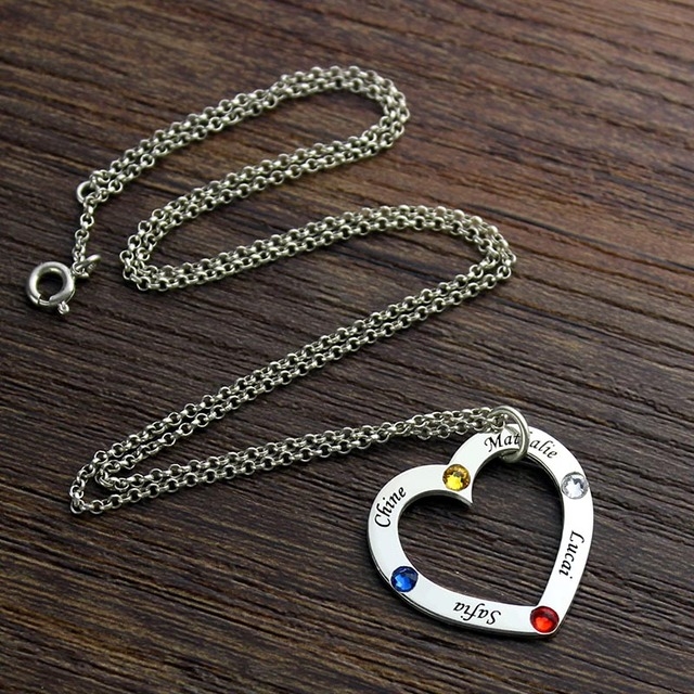 Birthstone Heart Necklace in Silver Personalized Children Names for Mother