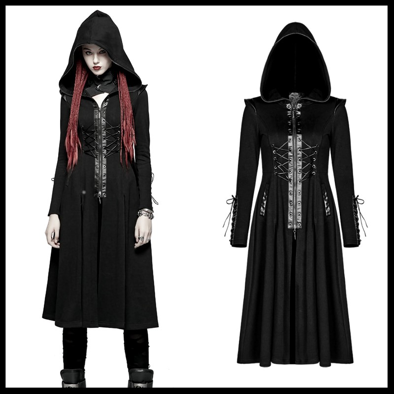 Steampunk Gothic Fashion Women Long Coat Punk Handsome Hooded   Trench   Coats Stage Perform Windbreaker Overcoats