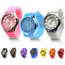 Gift Fashion Unisex Jelly Gel Quartz Sports Wrist Watch Geneva Silicone Rubber mint green color jelly quartz watch silicone