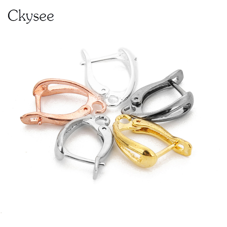 Ckysee 10Pcs/lot 11x18mm U Shape Copper French Earrings Wires Ear Hooks Fit Settings Base Findings Diy Jewelry Making Supplies