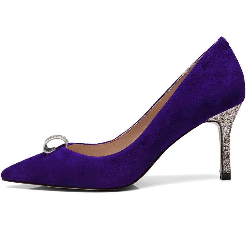2018 34 Pompes Chaussures Tendance Suede Kid purple Hauts Bout Femmes 39 Enmayer red Pour Taille Pointu Talons Black Ly384 4qvp0g