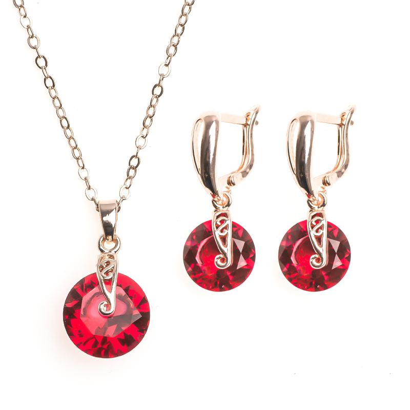 SHUANGR Gold Color Chain Multicolor Cubic Zirconia Brilliant Pendant Necklace Dangle Earrings Wedding Jewelry Set For Women