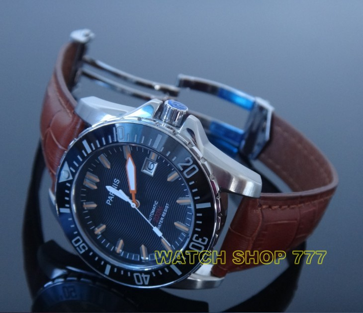 PARNIS 43mm movement steel with automatic mechanical men's watch sapphire glass Luxury watch