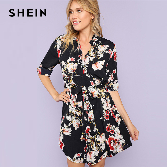 d434ed5feed2 SHEIN Multicolor Minimalist Floral Print Self Belted Curved Hem Shirt  Natural Waist Stand Collar Dress Summer