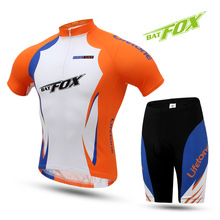 BATFOX Men Women Cycling Jersey Short Sleeve MTB Polyester Sport Maillot Bike Jersey Breathable Orange Bicycle Clothing Set
