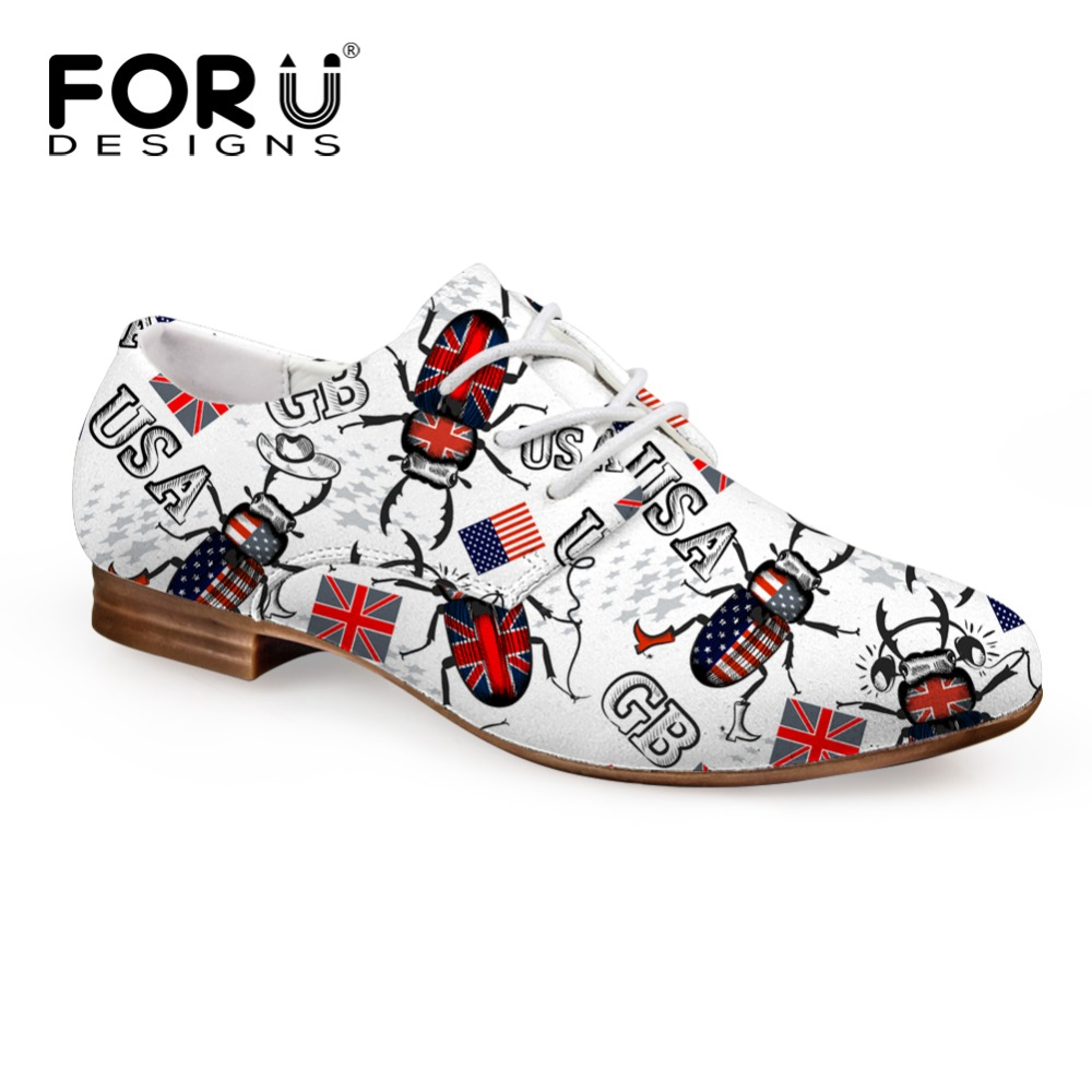 FORUDESIGNS Spring Autumn Oxford Shoes for Women,Soft Leather Women Casual Shoes,Vintage Ladies UK USA Flag Flats Moccasins Plus usa flag print crop tee