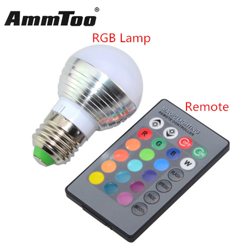 E27 RGB LED Lamp 16 Colors Changing Lampada Led Light Bulb 85 265V 110V 220V LED Spotlight Spot     -> Lampada Led Rgb