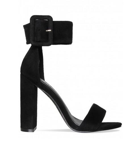 Deification Sandalias Mujer 2018 Fashion Ankle Strap Big Buckle Gladiator Sandals Women Square Heel Solid Formal Summer Shoes in High Heels from Shoes
