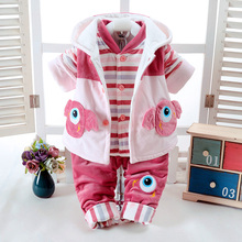 Autumn & Winter Newborn Girls Infant Babys Clothes Set Monster Design Add Cotton-Padded Thick 0-2T Baby 3 pieces/Set Clothing