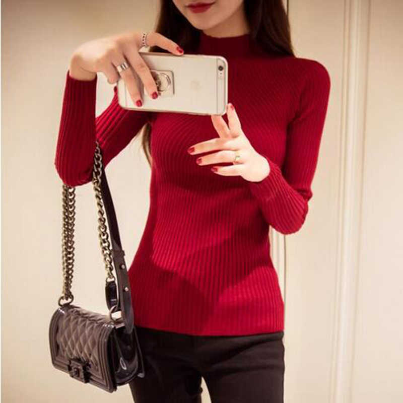 OHCLOTHING Fashion 2019 Autumn Winter Sweaters High Elastic Slim Warm Tight Bottoming Sweater Women Elegant Knitted Pullover