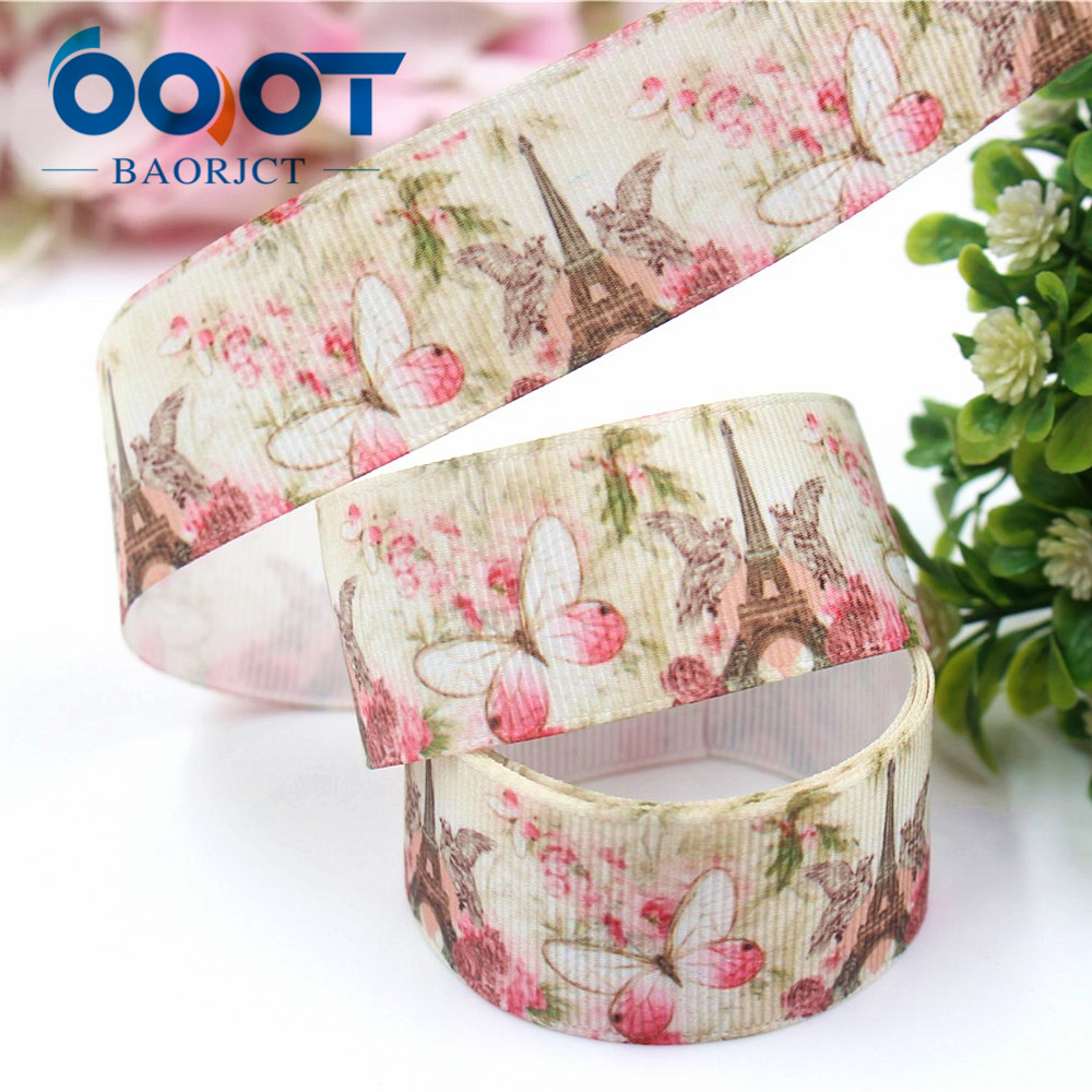 OOOT BAORJCT I-19222-440,10yards,25mm Tower Butterfly Thermal Transfer Printed Grosgrain Ribbons,tape Crafts Bow Cap Accessories
