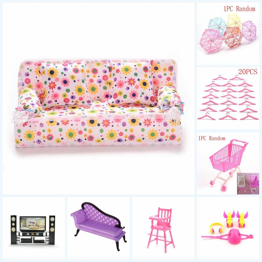 1 Set Fashion Dollhouse Furniture For Girl House Sofa TV Chair Umbrella For Girl Doll Brithday Gift Pretend Toy For Girls