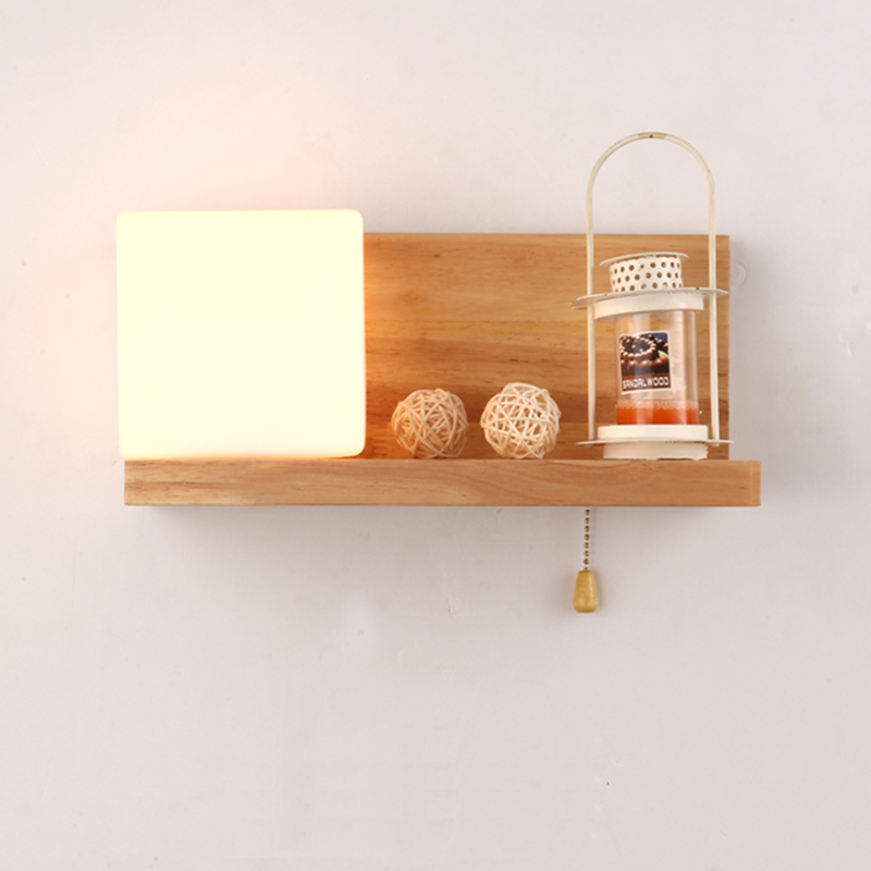 Nordic Wood Art Wall Lights with Glass Shade Bedroom Bedside Study Hotel Cafe Modern Country Wall Lamp Light Bra AC90~240V E27