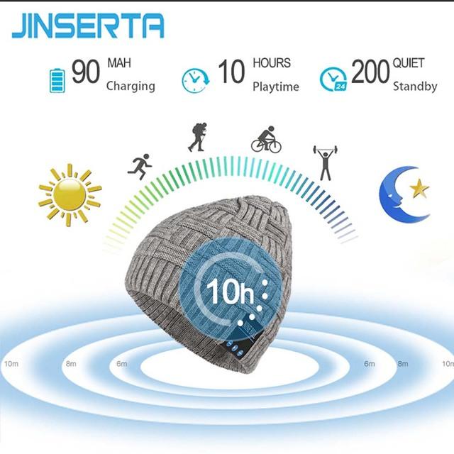 JINSERTA Wireless Bluetooth Headphones Music Hat Smart Caps Headset Earphone Warm Winter Hat with Speaker Mic Support Handsfree