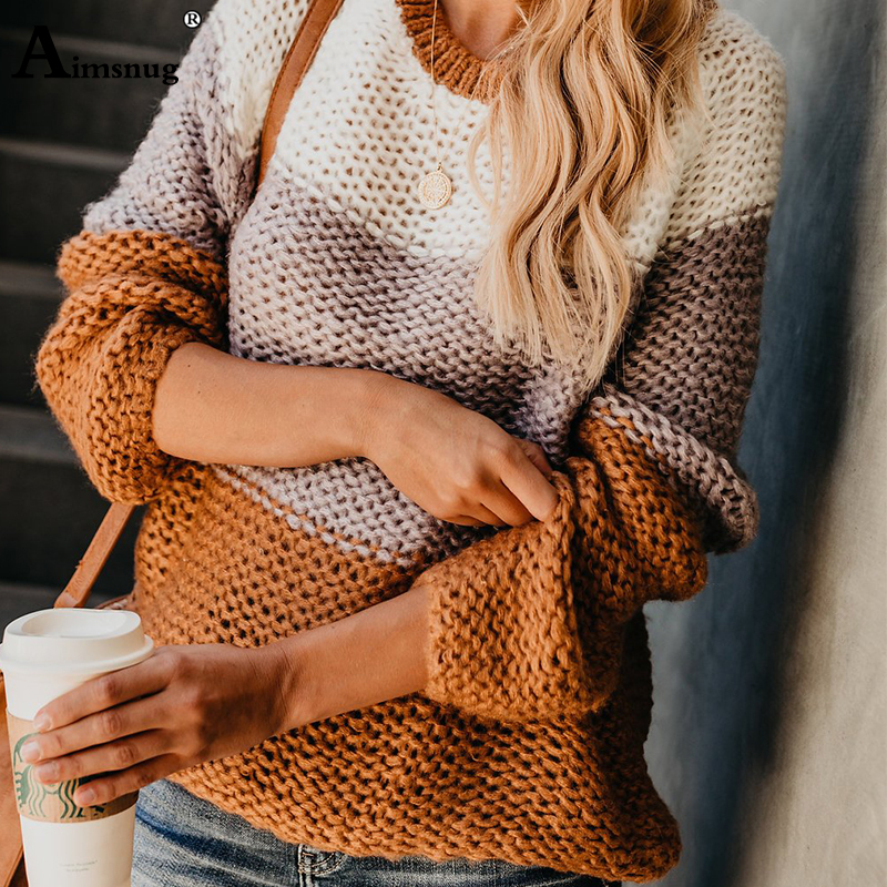Aimsnug 2019 Autumn Winter Fluffy Mohair Sweater Knitted Long Sleeve Patchwork Women O Neck Knitwear Pullovers Striped Sweaters