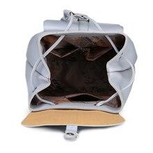 Women Backpack Vintage Leather Backpacks Drawstring Black