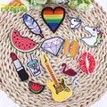 Labio Rainbow Unicorn Patch Alimentos DIY Pequeño Bordado Barato Lindo Hippie Parches De Hierro En Los Niños de la Historieta Pegatinas de Parches Para La Ropa