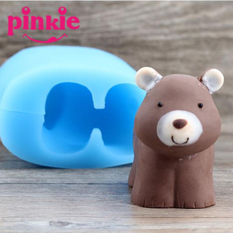 nueva llegada caseros grizzly oso hecho a mano jabn moldes para velas de silicio en forma
