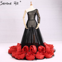 One Shoulder Long Evening Dresses Transparent 2018 Rose Flowers A Line Formal Dress Party Robe De Soiree Real Serene Hill