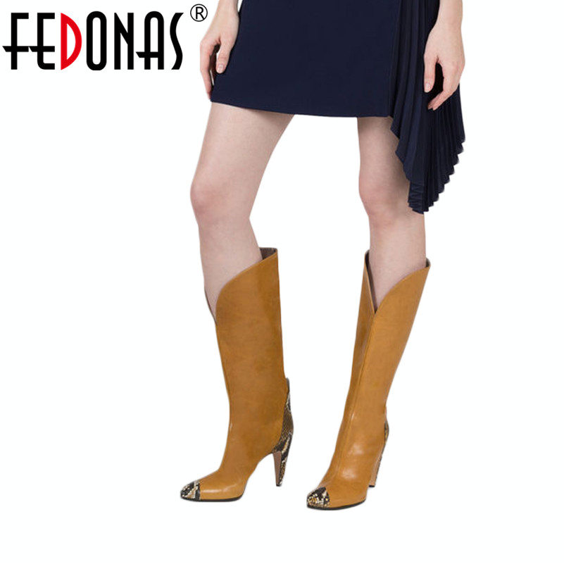 FEDONAS Brand Knee High Boots Women High Heels Autumn Winter Long Party Prom Shoes Woman Pointed