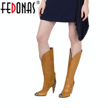 FEDONAS Marke Kniehohe Stiefel Frauen High Heels Herbst Winter Lange Party Prom Schuhe Frau Spitz Nacht Club Prom pumpen(China)