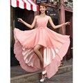 2016 Abito Damigella flor Strapless plissada Vestido De Festa De Casamento pêssego alta baixa da Dama De honra Vestido curto vestidos De Dama