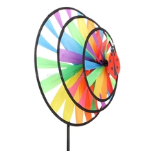 Красочная Радужная трехколесная ветряная мельница для сада двора наружный Декор# T026